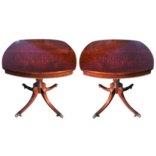 1940s Neoclassical Imperial Burl Mahogany Carved End Tables - a Pair For Sale