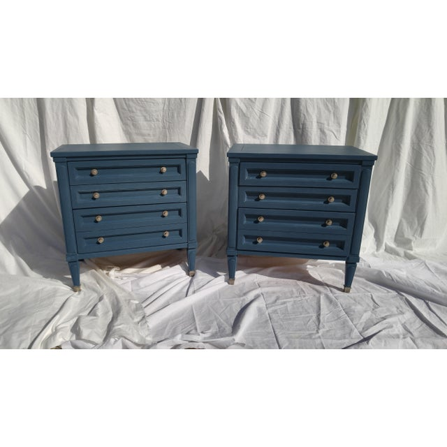 Mid-Century Blue Nightstands - A Pair - Image 2 of 10