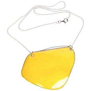 Michel McNabb for Basha Gold Limoncello Enamel Pendant Silver Chain Necklace For Sale