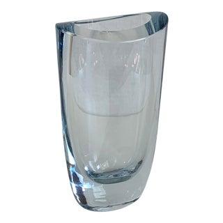 1960's Swedish Strombergshyttan Ice Blue Art Glass Vase For Sale