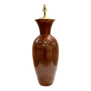 Tall Transitional Cinnabar Glaze Lamp For Sale