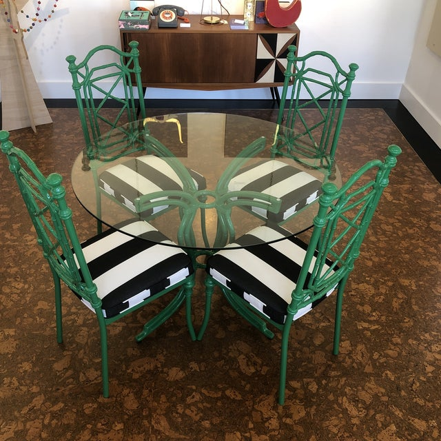 Fabric Vintage Bamboo Metal Kitchen Dining Set For Sale - Image 7 of 10