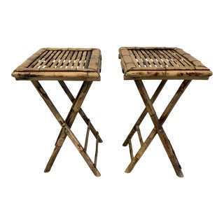 Vintage Burnt Bamboo Folding Tray Tables- a Pair For Sale