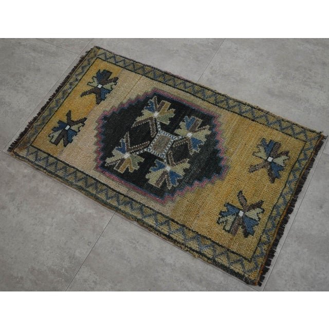 Distressed Low Pile Rug Turkish Yastik Small Rug Faded Colors Mat - 22'' X 37'' For Sale - Image 4 of 4