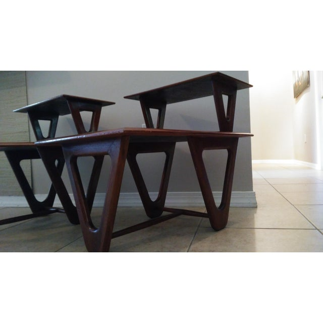 Mid-Century Modern Tiered Walnut Side Tables - Pair - Image 3 of 8