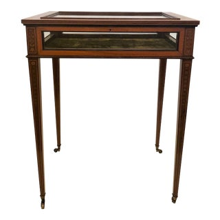 Antique English Sheraton Satinwood Inlaid Table Vitrine, Circa 1860-1880. For Sale