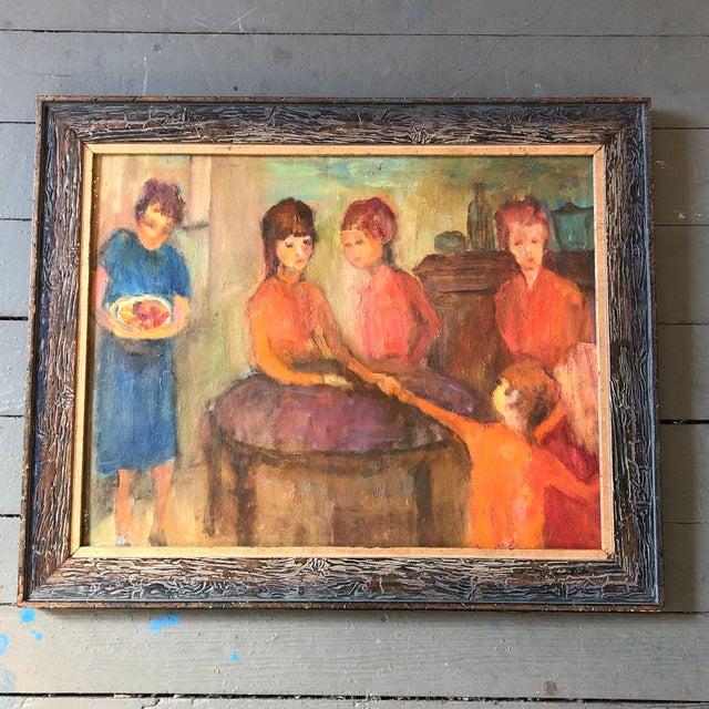 Original Vintage Modernist Figural Interior Painting For Sale In Philadelphia - Image 6 of 6