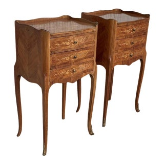 20th Century Marquetry Walnut Bedside, Nightstands Tables With Drawers - a Pair For Sale