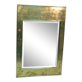 La Barge Hand Painted Gold Leaf Eglomise Mirror For Sale