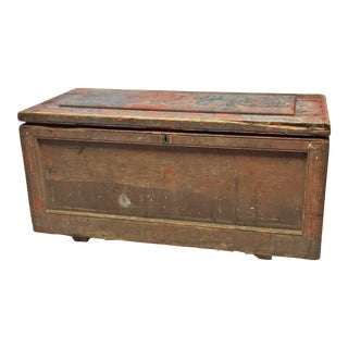 Vintage Primitive Red Painted Wood Carpenter Chest