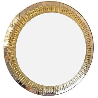 1960s Italian Large Round Cristal Art Mirror For Sale