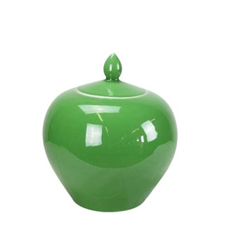 Asian Modern Apple Green Melon Porcelain Jar