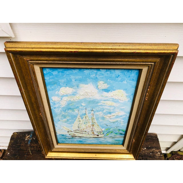 Vintage Sailboat Ocean 3d Art Painting Signed in Antique Gold Frame For Sale - Image 12 of 13