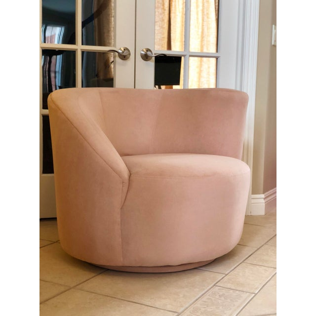 1980s Vintage Vladimir Kagan Pink Nautilus Swivel Chair For Sale In Detroit - Image 6 of 6