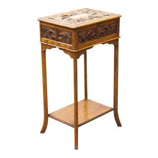 Carved Inlaid Wooden Sewing Table For Sale