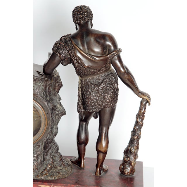 "Empire French Empire ""Farnese Hercules"" Mantel Clock attributed to Claude Galle For Sale - Image 3 of 11"