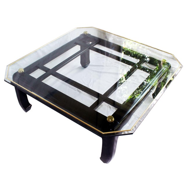 Vintage Ming-Style Chinoiserie Black Lacquered & Gold Brass Coffee Table With Glass Top For Sale - Image 13 of 13