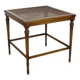 Image of Mid-Century Walnut Side Table With Cane and Glass Top For Sale
