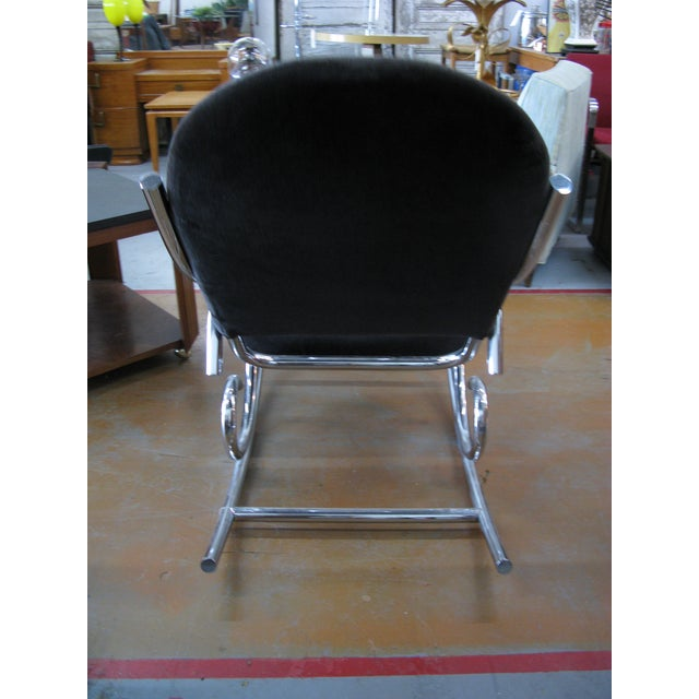 Black 1970s Mid-Century Modern Curvaceous Upholstered Chrome Rocking Chair For Sale - Image 8 of 10