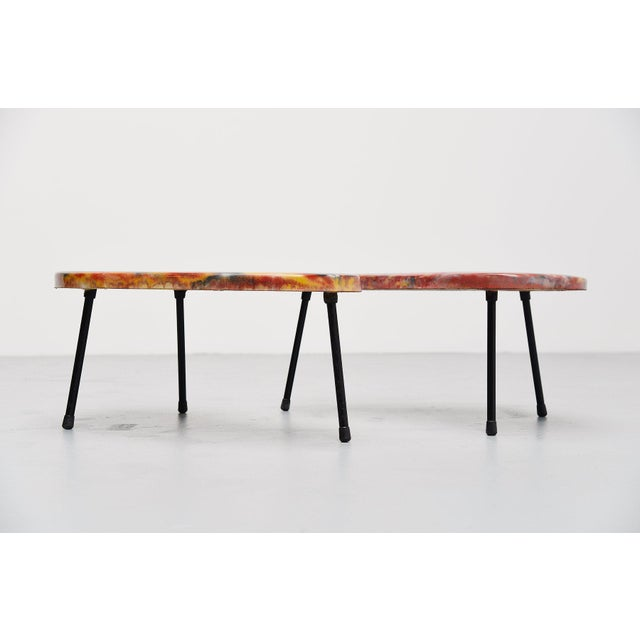 Kidney Shaped Tables France 1960 - a Pair For Sale - Image 4 of 9