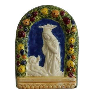 Vintage Italian Della Robbia Terracotta Religious Wall Decor For Sale