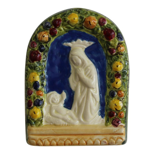 Vintage Italian Della Robbia Terracotta Religious Wall Decor For Sale
