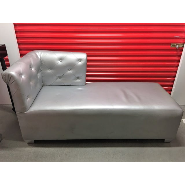 Silver Tufted Vinyl Chaise Lounge - Image 6 of 7