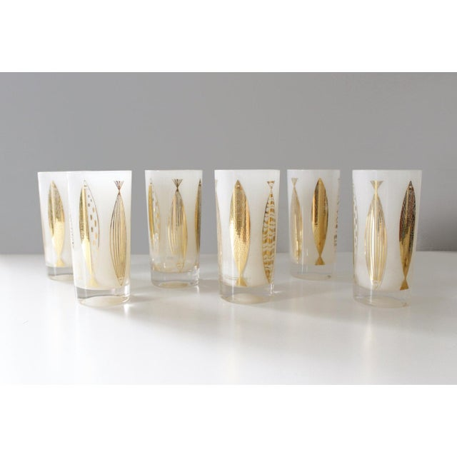 Fred Press White & Gold Fish Glasses - Set of 6 - Image 2 of 6