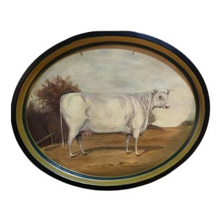 Original White Cow Hand Painted Tole Tray For Sale
