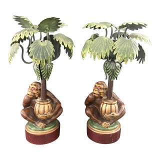 Petites Choses Palm Tree and Monkeys Candlesticks - a Pair For Sale