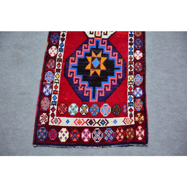 Traditional Kurdish Colorful Hand-Knotted Wool Runner Rug For Sale - Image 3 of 9