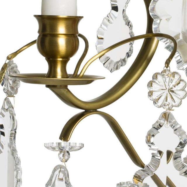 Rococo style wall Chandelier in amber coloured brass with pendeloque shaped crystals (width 32cm/13 inches) - Image 4 of 8