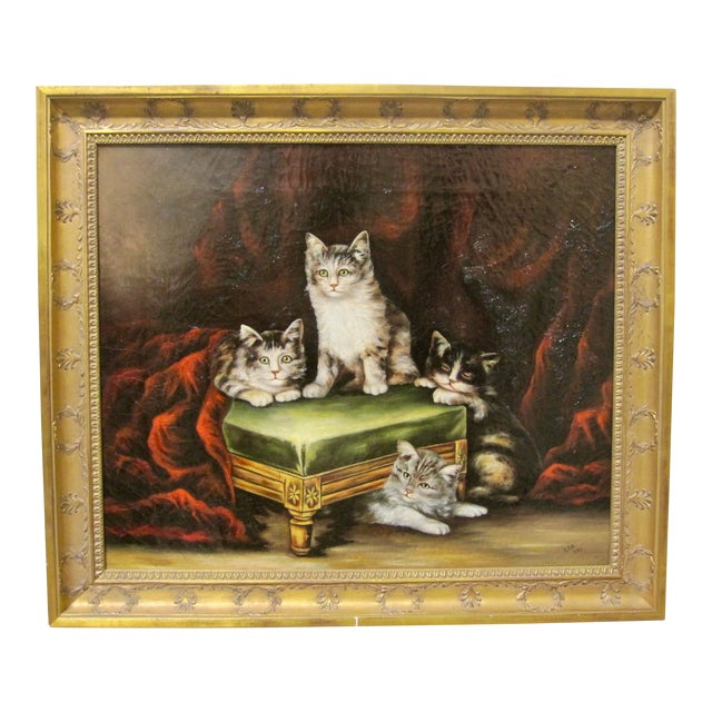 Late 19th Century Antique Henriette Ronner Style Signed Kitten Oil Painting For Sale