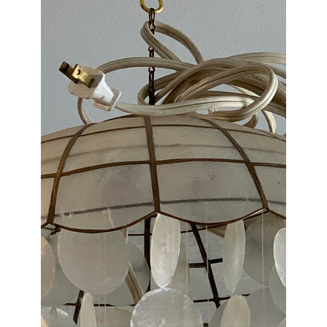 1970s Capiz Shell Spiral Chandelier For Sale In Los Angeles - Image 6 of 9