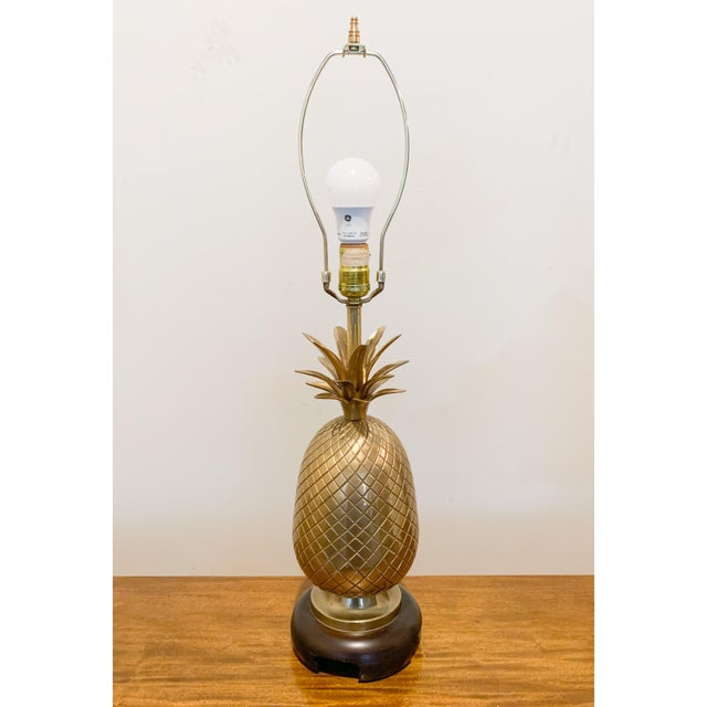 1960s Frederick Cooper Brass Pineapple Table Lamp For Sale - Image 10 of 10