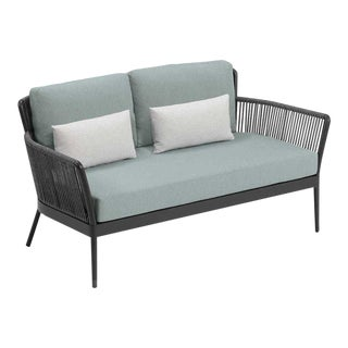 Outdoor Loveseat, Carbon, Seafoam and White For Sale