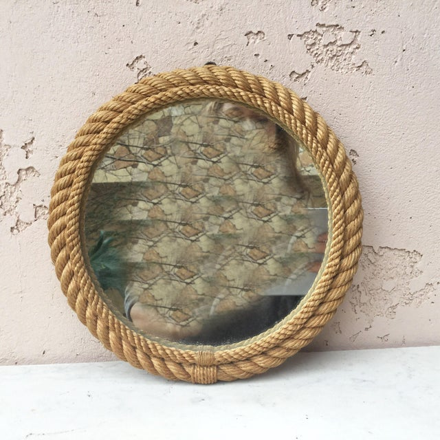 1960s 1960s Vintage Audoux Minet Round Rope Mirror For Sale - Image 5 of 6