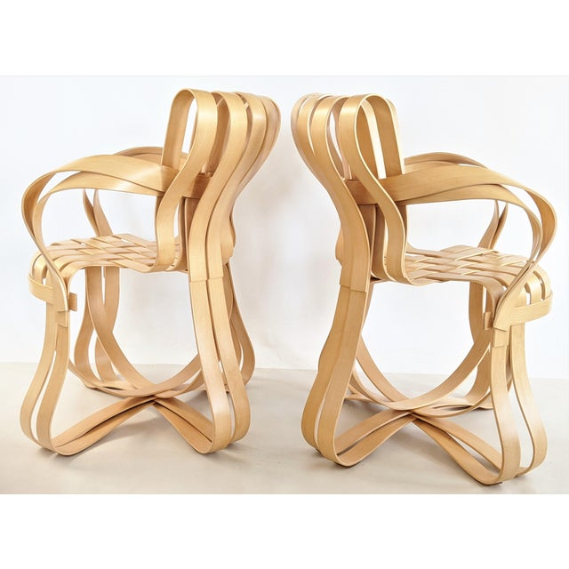 1990s Frank Gehry for Knoll Cross Check Chair Maple Wood With Arms - a Pair For Sale - Image 5 of 13