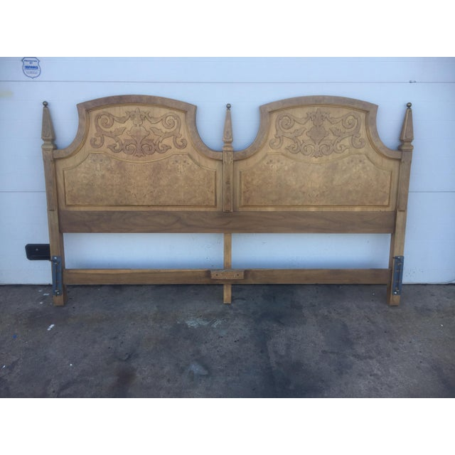American Of Martinsville Mid Century Burl Wood King Size Headboard - Image 3 of 5