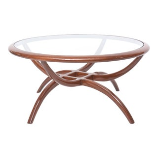 Italian Modern Mahogany and Glass Top Table, Carlo de Carli For Sale