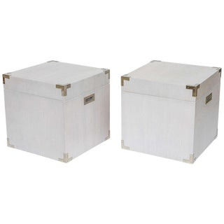 Pair of Bleached Walnut Trunks and End Tables For Sale