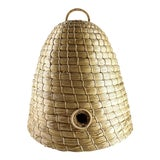 Image of Late 20th Century Vintage Hand Crafted Beehive Straw Basket For Sale