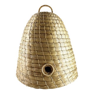 Late 20th Century Vintage Hand Crafted Beehive Straw Basket For Sale