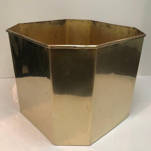 Mid 20th Century Jumbo Vintage Octagonal Brass Floor Planter For Sale - Image 5 of 8