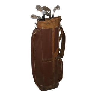 Vintage Halley English Leather & Canvas Golf Bag
