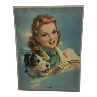 "Vintage Jules Erbit ""Buddies"" Woman Dog Driving Car Lithograph For Sale"