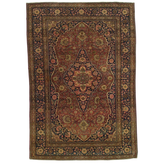 Late 19th Century Antique Persian Mohtasham Kashan Rug - 4′6″ × 6′6″ For Sale