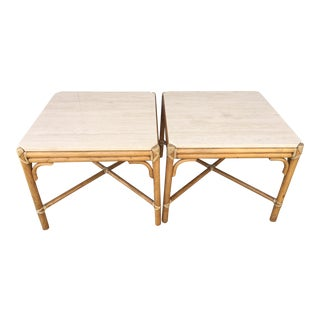 Vintage Boho Chic McGuire Furniture Travertine and Rattan Side Tables - a Pair For Sale