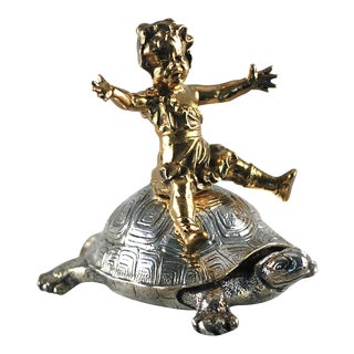 "C1890 Antique Christofle Dore and Silvered Bronze Sculpture ""Little Girle Riding Tortoise"", Signed For Sale"