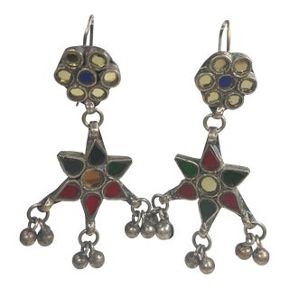Vintage Multi Color Glass Inlay Earrings For Sale